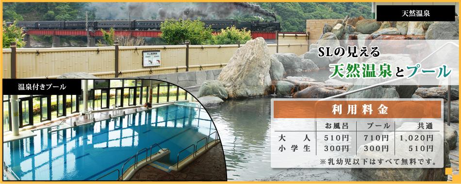 スライダー:SLの見える天然温泉とプール